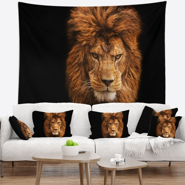 Designart 'Face of Male Lion on Black' Abstract Wall Tapestry. Opens flyout.