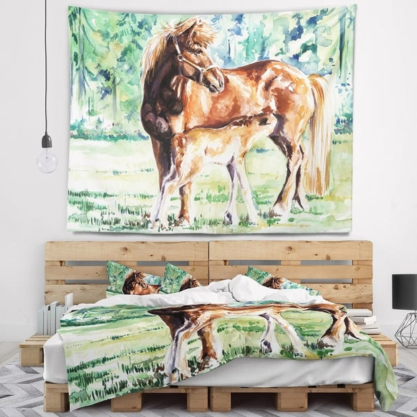 Designart 'Mare and Foal Watercolor' Abstract Wall Tapestry