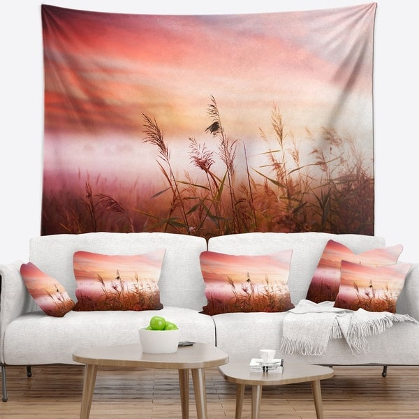 Designart 'Foggy Land with Early Morning Mist' Landscape Wall Tapestry
