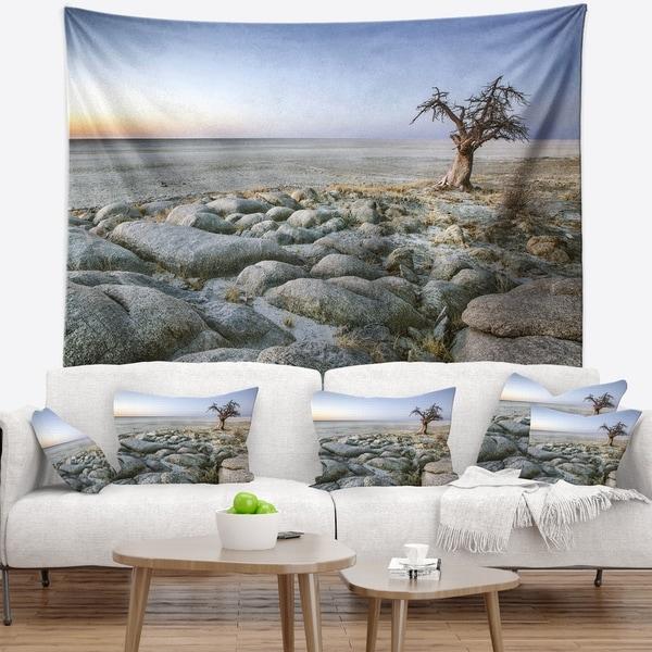 Designart 'Baobab Tree on Rocky Terrain' Landscape Wall Tapestry