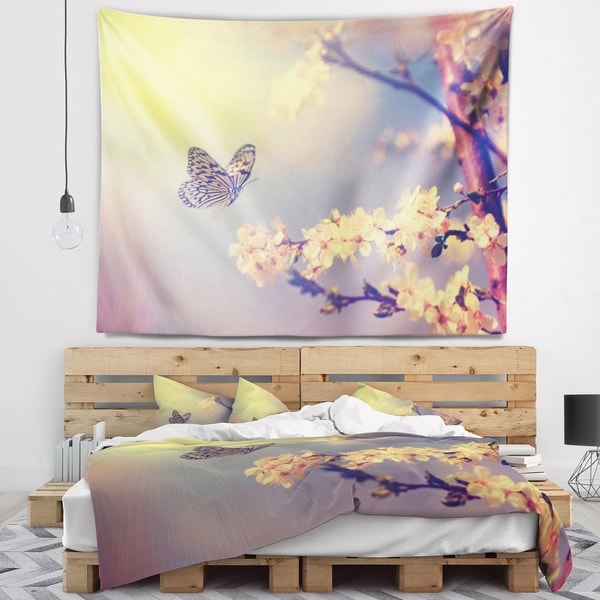 Designart 'Vintage Butterfly and Cherry Tree' Floral Wall Tapestry