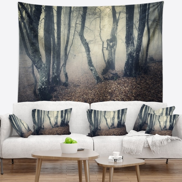 Designart 'Mystical Yellow Fog in Fall Forest' Landscape Photography Wall Tapestry