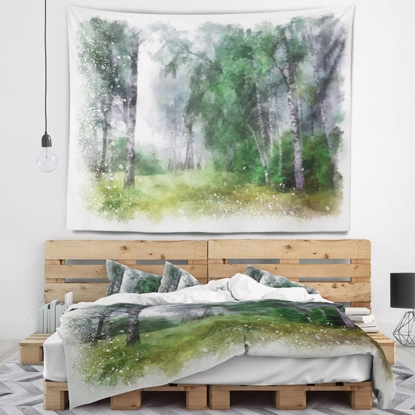 Designart 'Green Forest Watercolor Drawing' Landscape Wall Tapestry