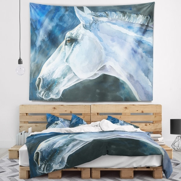Designart 'Gray Horse Watercolor' Abstract Wall Tapestry