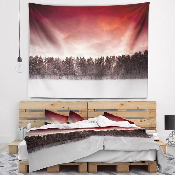 Designart 'Sunset over Frozen Lake' Landscape Photography Wall Tapestry