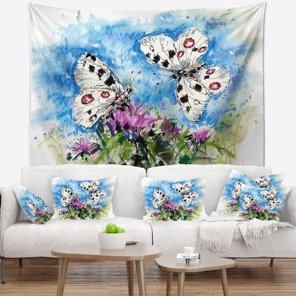 Designart 'Apollo Butterflies Illustration on Blue' Floral Wall Tapestry