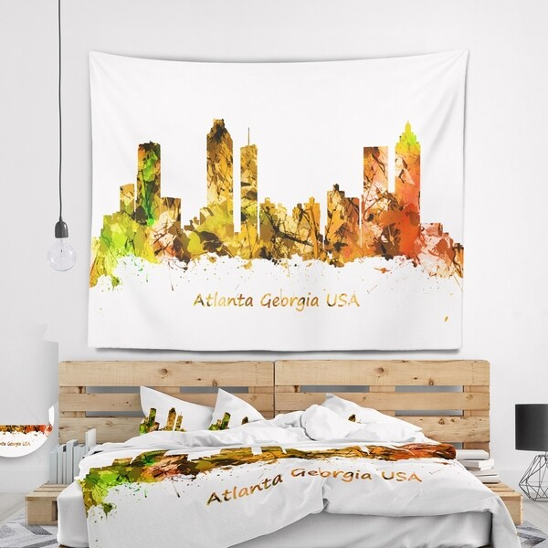 Designart 'Atlanta Georgia Skyline' Cityscape Wall Tapestry