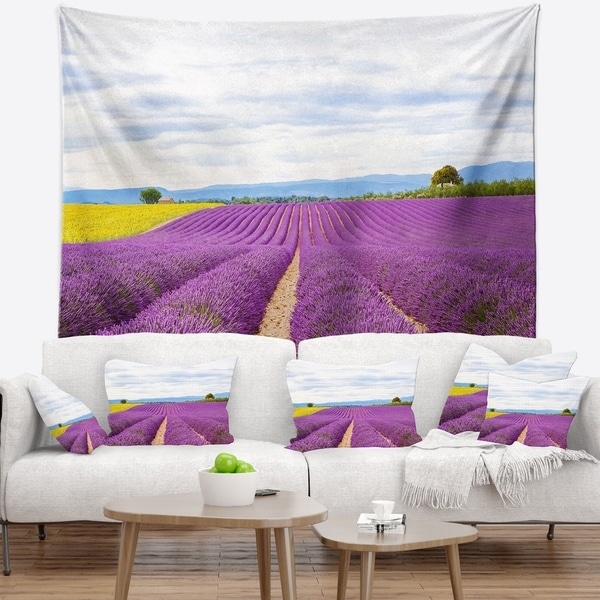 Designart 'Sunflower and Lavender Fields' Landscape Wall Tapestry
