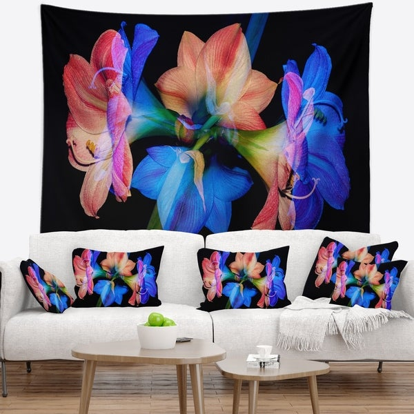 Designart 'Abstract Blue Red Flower on Black' Floral Wall Tapestry
