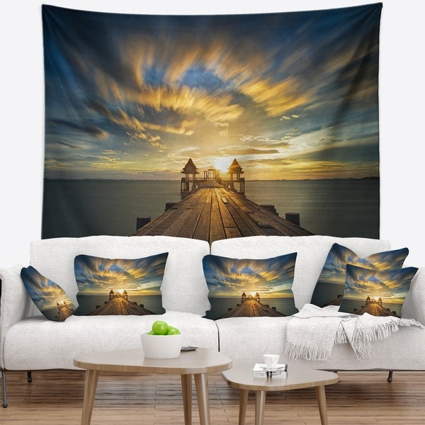 Designart 'Wooden Bridge under Dramatic Sky' Pier Seascape Wall Tapestry