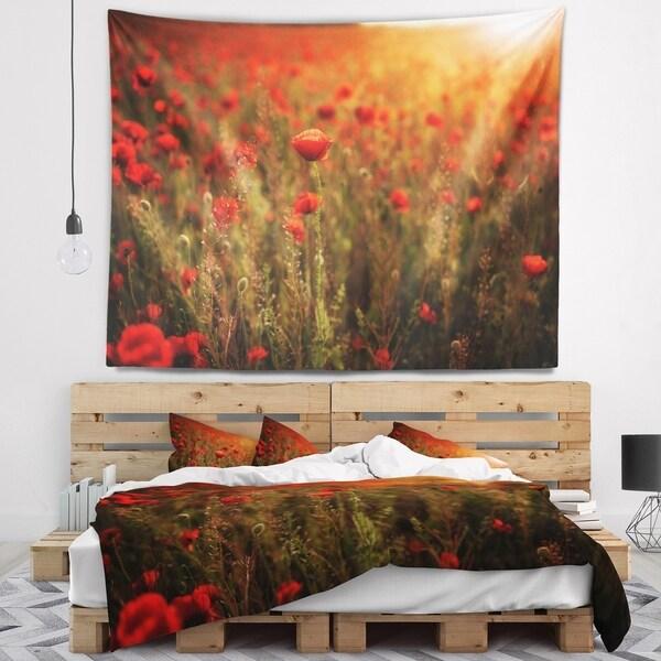 Designart 'Dense Poppy Field At Sunset' Floral Wall Tapestry