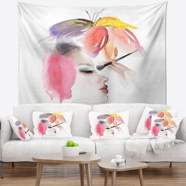 Designart 'Eye Lash Face Woman Cosmetic' Portrait Wall Tapestry