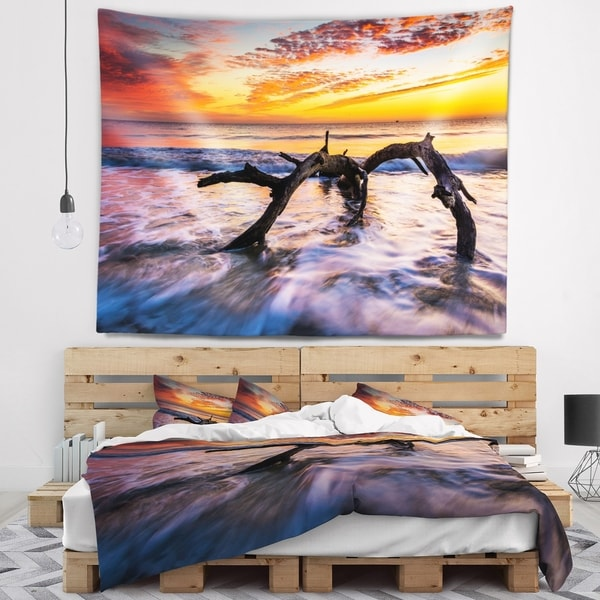 Designart 'Tree and Waves in the Atlantic Ocean' Seascape Wall Tapestry