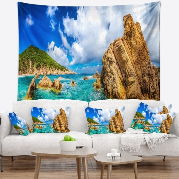 Designart 'Costa Paradiso Close View' Seashore Photo Wall Tapestry