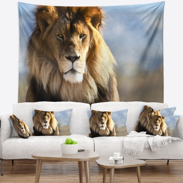 Designart 'Fierce Face of King of the Wild' African Wall Tapestry