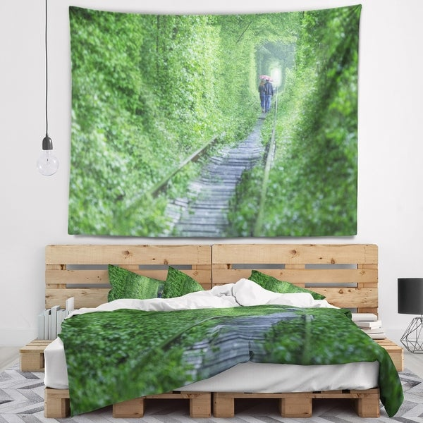 Designart 'Couple Walking into Tunnel' Landscape Wall Tapestry