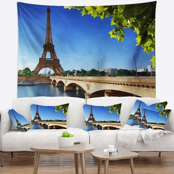 Designart 'Bridge to Paris Paris Eiffel TowerParis' Cityscape Wall Tapestry