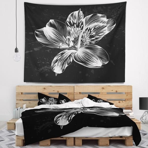 Designart 'Beautiful Monochrome Alstroemeria Flower' Floral Wall Tapestry