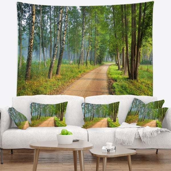 Designart 'Road in Green Morning Forest' Landscape Photo Wall Tapestry