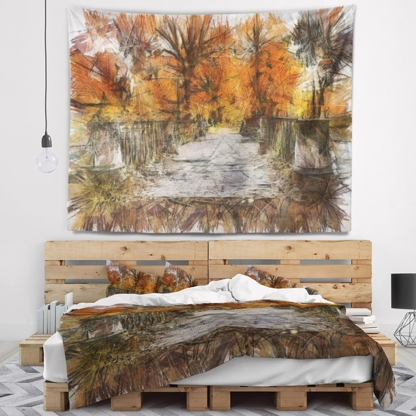 Designart 'Beautiful Watercolor Autumn Forest' Landscape Wall Tapestry