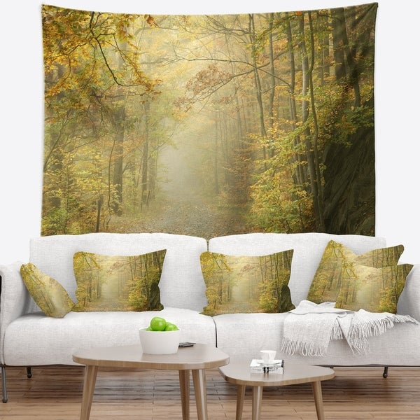 Designart 'Autumn Forest Path on Misty Morning' Landscape Photography Wall Tapestry