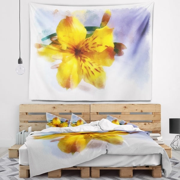 Designart 'Yellow Lily Hand drawn Flower' Floral Wall Tapestry