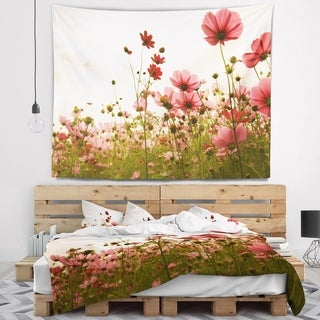 Designart 'Beautiful Cosmos Flowers Garden' Floral Wall Tapestry