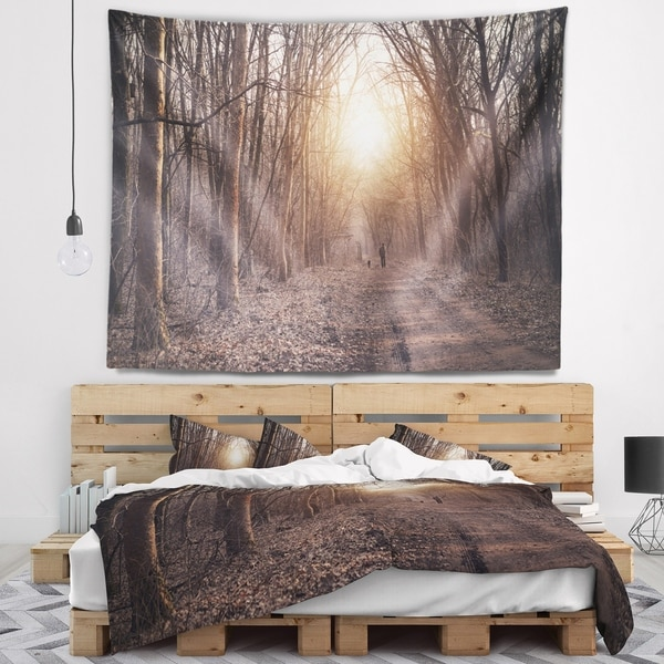 Designart 'Forest Pathway View at Sunset' Modern Forest Wall Tapestry