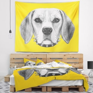 Designart 'Funny Beagle Dog with Collar' Animal Wall Tapestry