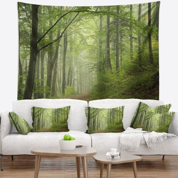 Designart 'Early Green Fall Forest' Landscape Photo Wall Tapestry