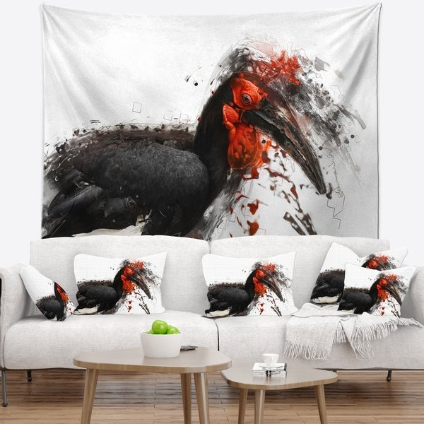 Designart 'Relaxing Large Exotic Bird' Animal Wall Tapestry