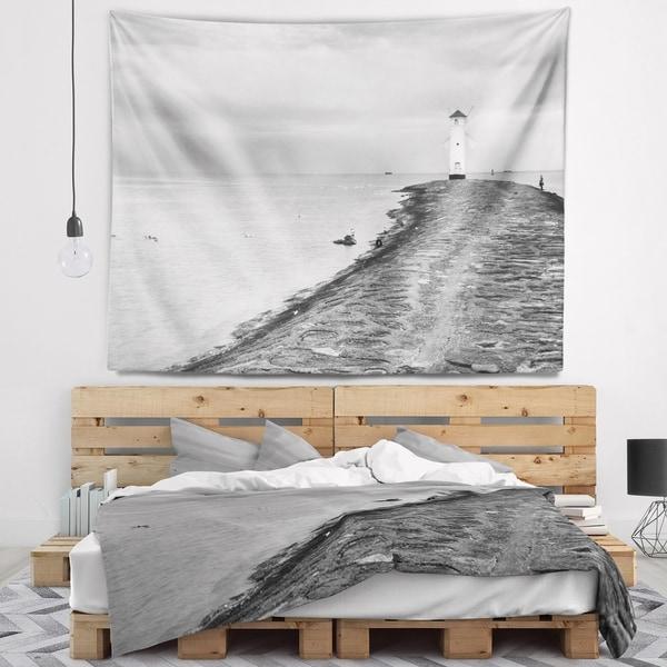 Designart 'Lighthouse Windmill Stawa Mlyny in Grey' Seascape Wall Tapestry
