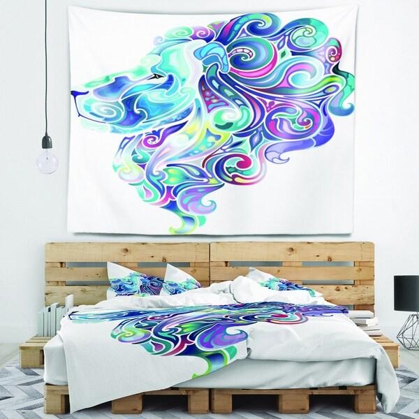 Designart 'Blue Lion Abstract Art' Animal Wall Tapestry