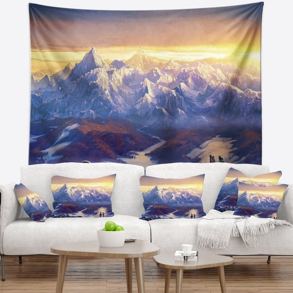Designart 'Winter Mountains with Tourists' Landscape Wall Tapestry