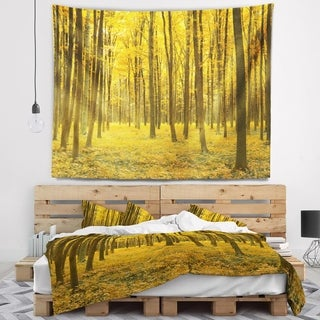 Designart 'Bright Yellow Autumns Forest' Modern Forest Wall Tapestry