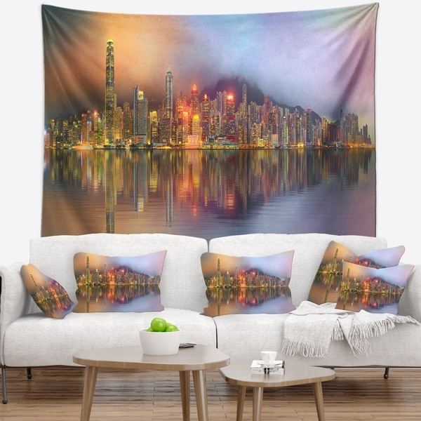 Designart 'Singapore Financial District Island' Cityscape Wall Tapestry