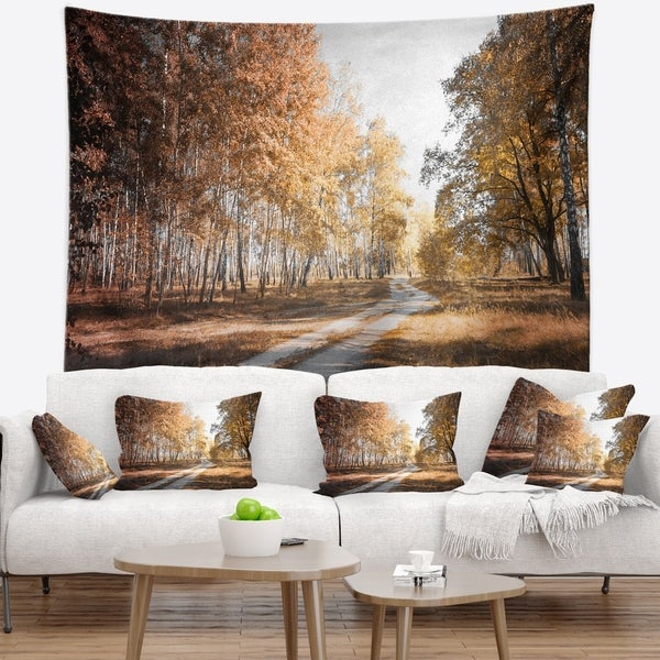 Designart 'Straight Road in Fall Birch Grove' Modern Forest Wall Tapestry