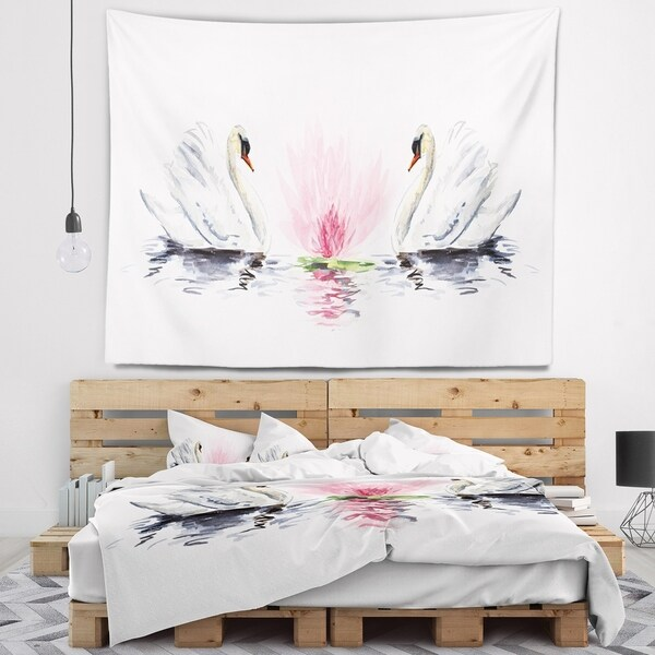 Designart 'Floating Swans on White Background' Animal Wall Tapestry