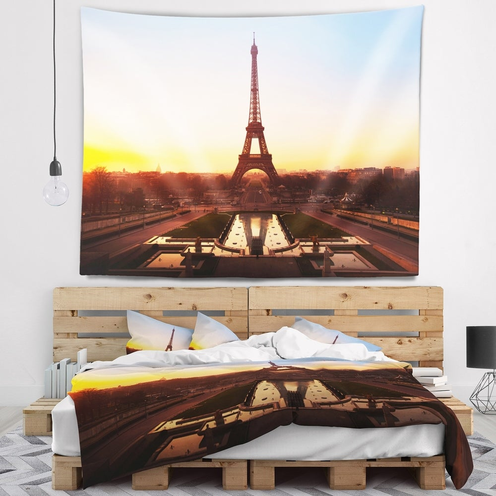 Designart 'Brown Silhouette of Paris Paris Eiffel Tower' Cityscape Wall Tapestry (60 in. x 50 in.)