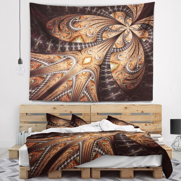 Designart 'Brown Symmetrical Fractal Flower' Abstract Wall Tapestry