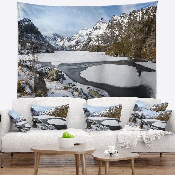 Designart 'Winter in Lofoten Islands' Landscape Wall Tapestry