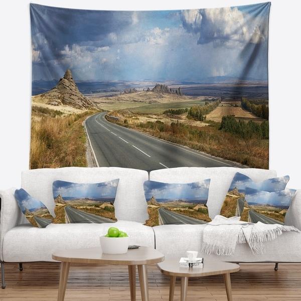 Designart 'Road in East Kazakhstan Panorama' Landscape Wall Tapestry