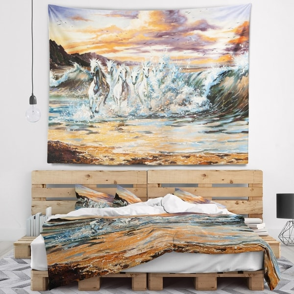 Designart 'Horses from Waves' Animal Wall Tapestry