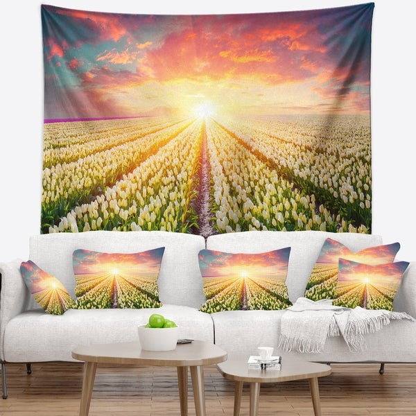 Designart 'Blooming White Tulips' Landscape Photo Wall Tapestry