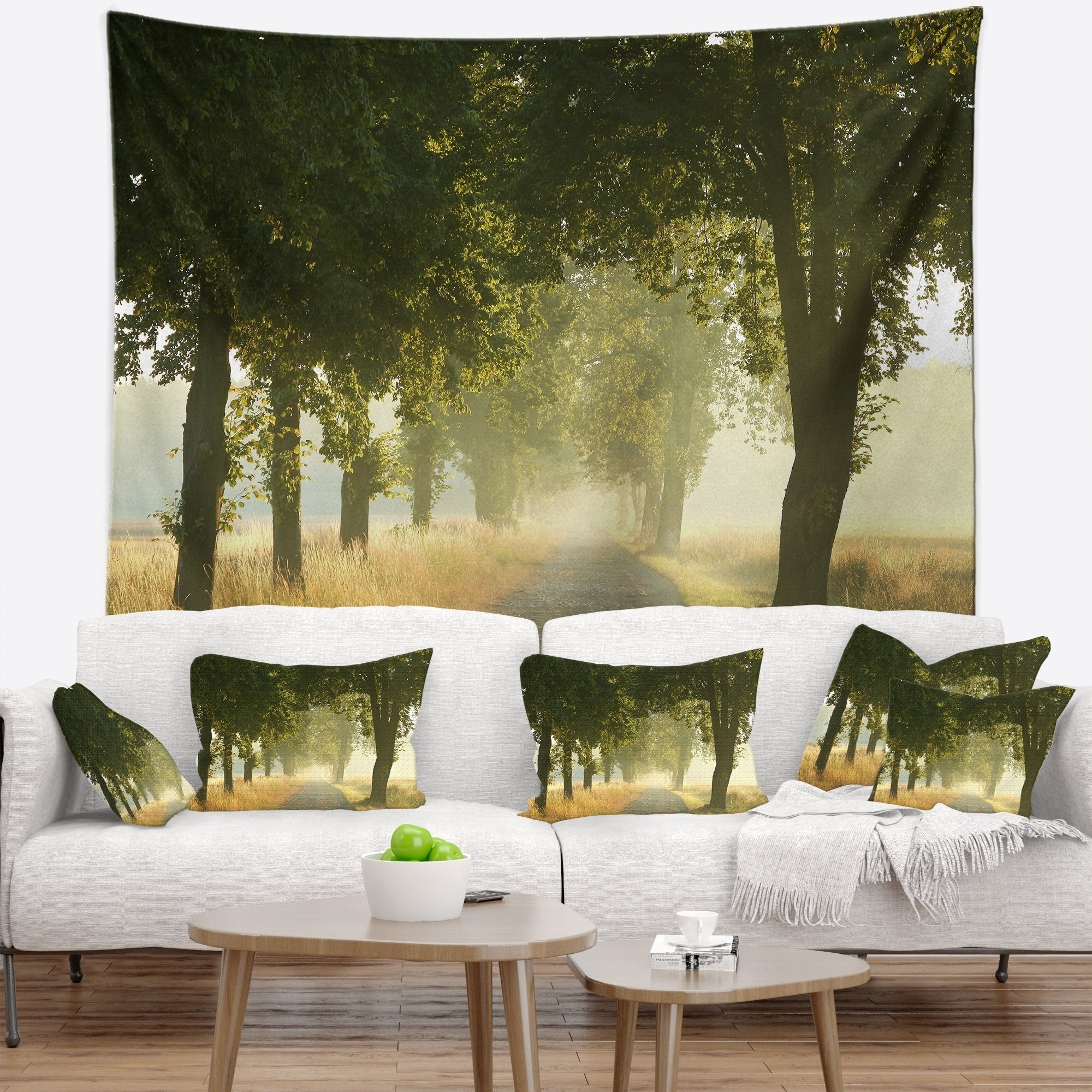 Designart Rural Road Under Big Green Trees Landscape Photography Wall Tapestry On Sale Overstock 20928624
