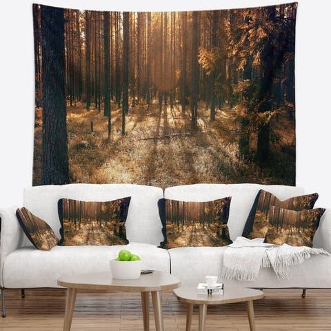 Designart 'Dark First Snow Forest Photo' Modern Forest Wall Tapestry