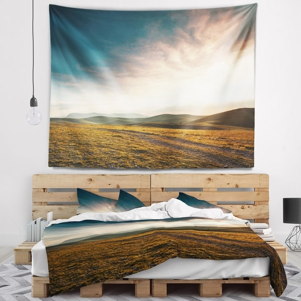 Designart 'Pathway over Mountains At Sunset' Landscape Wall Tapestry