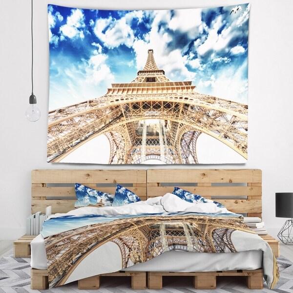 Designart 'Beautiful view of Paris Paris Eiffel Towerunder Clouds' Cityscape Wall Tapestry