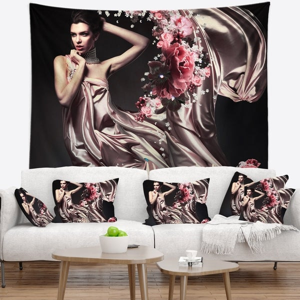 Designart 'Woman in Fabric and Flowers' Portrait Wall Tapestry