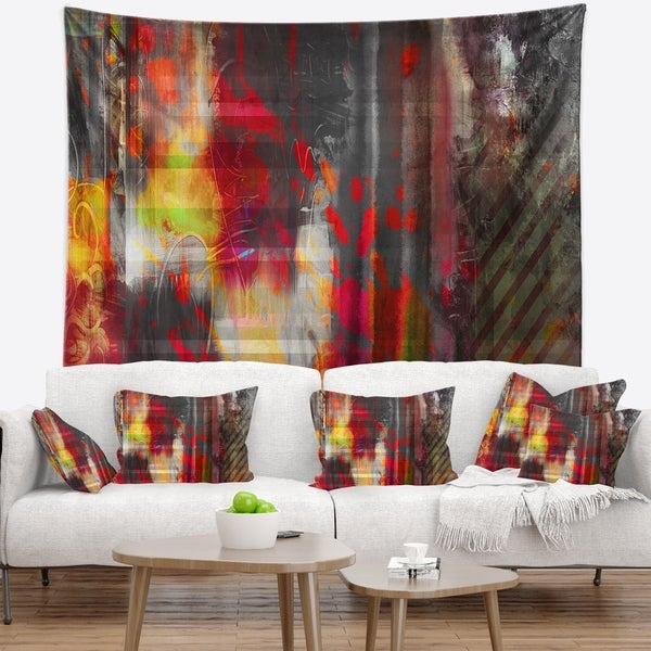 Designart 'Red Decorative Design' Abstract Wall Tapestry